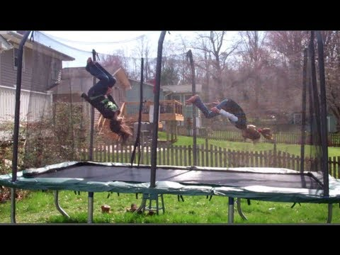 8 and 9 Year Old Gymnastics Tricks and Tumbling on the Trampoline