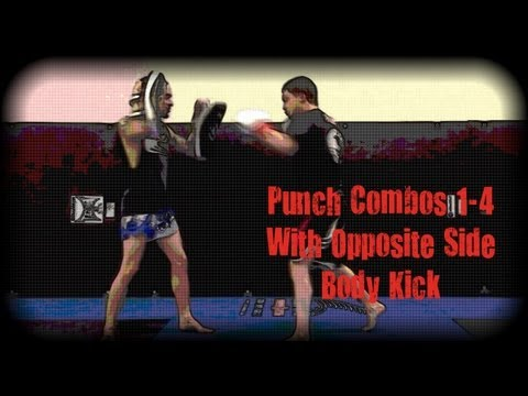 Muay Thai - Punch Combos 1-4 With Opposite Side Body Kick Drill Image 1