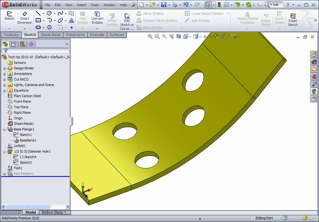 Solidworks Sheet Metal How To Create The Axis Of A Bent