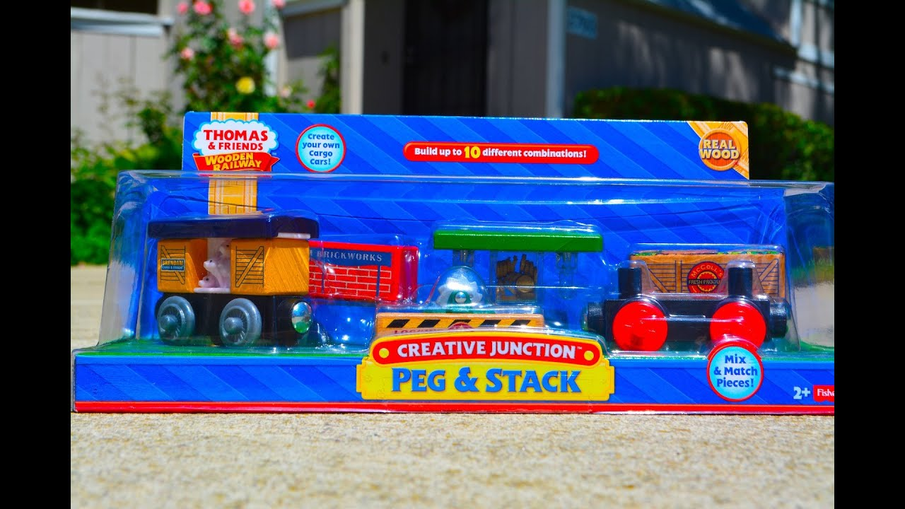 ... PEG & STACK Wooden Railway Toy Train Review By Mattel - YouTube