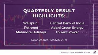 Quarterly Highlights: Welspun, Petronet, Mahindra Holidays, J&K Bank, Central Bank, Torrent Power