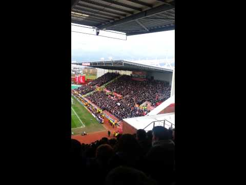 Manchester United fans at Stoke City singing 