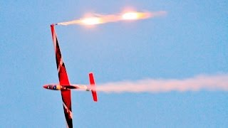 GIANT 1/2 SCALE 7mtr PARITECH FOX JET GLIDER NIGHT FLYING AZZA STEPHENS BARTONS POINT RC  - 2016