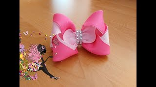 Розовый бантик из ленты шириной 4 см.  /Pink bow with ribbon 4 cm wide