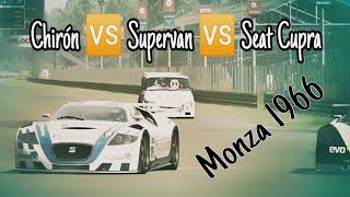 Supervan 3 🆚 Buggatti Chiron vs SEAT Cupra. Monza 1966