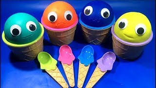 4 Colors Play Doh Ice Cream Cups PJ Masks Trolls blind bag Kinder Surprise Eggs