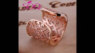 Stone heart shaped open ring fashion heart shaped jewelry zircon ring