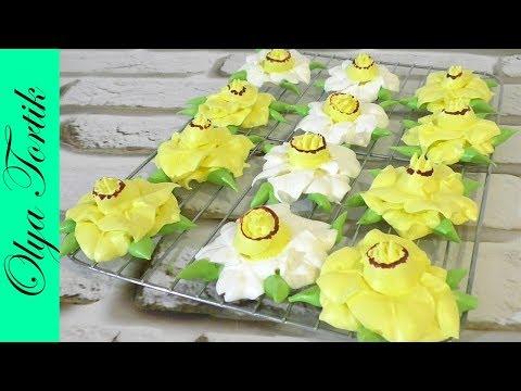 Нарцисс из БЕЗЕ МЕРЕНГА Цветы из безе МК /// Olya Tortik Домашний Кондитер