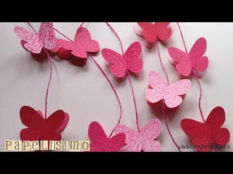 C mo hacer guirnalda de mariposas de papel con imprimible - Como hacer mariposas de papel ...