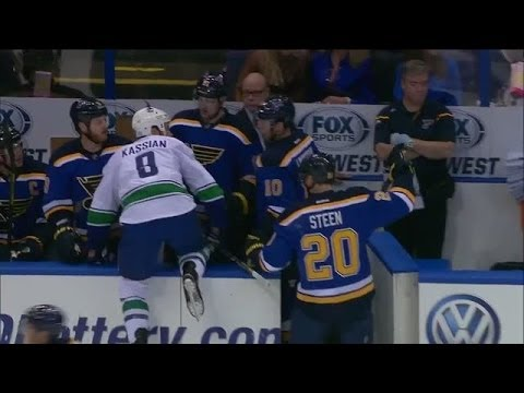 Zack Kassian jumps into the wrong bench