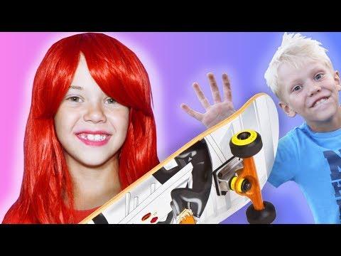 Украл скейт у сестры Забавная семейка Первые трюки на скейте Skateboarding