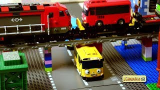 lego train and tayo bus story | lego red train | lego city | brick builder | lego movies | kiddiestv
