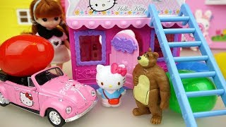 Hello kitty house and baby doll car toys play with surprise eggs