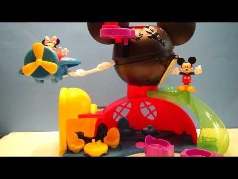 MICKEY MOUSE CLUBHOUSE FLY N SLIDE CLUBHOUSE PLAYSET DISNEY JR VIDEO TOY REVIEW