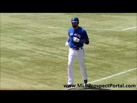 Blue Jays OF Jose Bautista blasts a home run deep to left field vs  Mets RHP Dillon Gee   2012