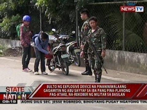 SONA: Bulto ng explosive device na pinaniniwalaang gagamitin ng Abu Sayyaf, na-rekober