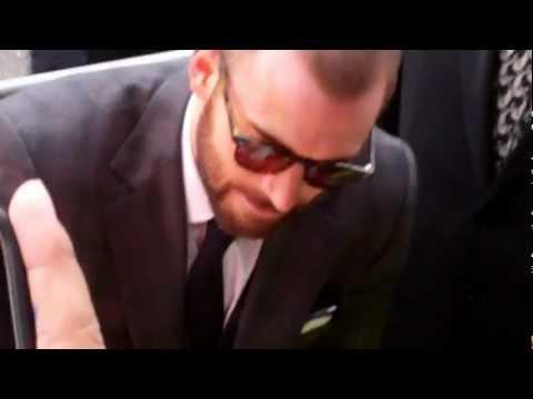 Captain America Chris Evans signs for fans at Marvel's 'The Avengers' film Premiere