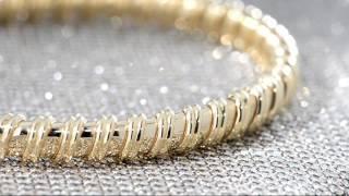 14K Gold Polished Ribbed Flexible Bangle on QVC