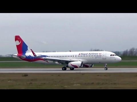 NEPAL AIRLINES Airbus A320, Has arrived TIA Kathmandu Nepal. Video, Hamburg Germany.
