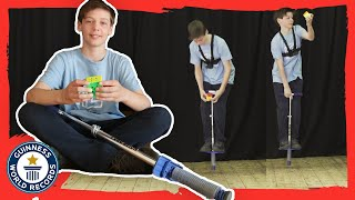 George Turner: Fastest time to solve a Rubik's Cube on a pogo stick! - Meet The Record Breakers