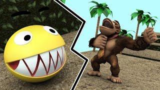 Pacman in Donkey Kong world - Pacman vs Donkey Kong