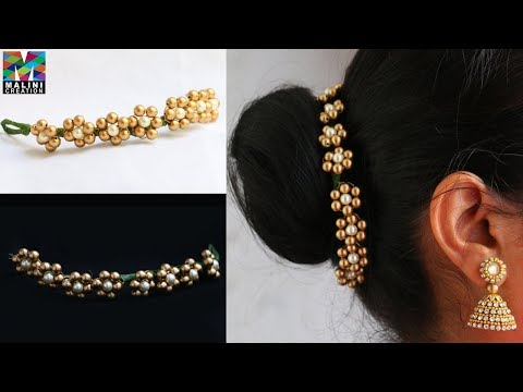 Pearls hair accessory / quick easy hair accessories/ Diy hair brooch #Malinicreation - YouTube