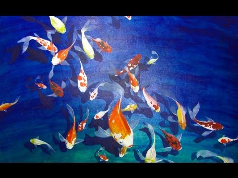 Art Lesson: How to Paint a Koi Pond using Acrylic Paint
