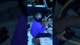 Little baby 💁 drive car 🚗like full energy