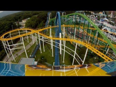 Big Boom Near Vertical Drop Roller Coaster POV Nasu Highland Japan 1080p HD