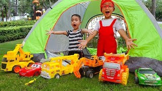 Car for Kids Construction Vehicles Toy Excavator, Dump truck - Dave Mario and brother Go Camping