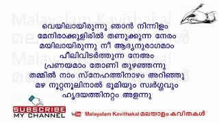 Neeyum Njanum Kavitha with lyrics | A nice nostalgic love poem | Romantic malayalam poem
