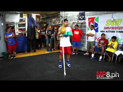 Manny Pacquiao - Manny Pacquiao works his magic on the Double End Bag Image 1
