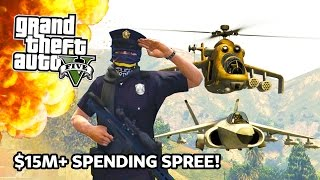 GTA 5 - $15,000,000 Spending Spree! Hydra Jet, Attack Helicopter, Military APC Gun Turret & More!