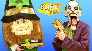 Nerf Patrol - St. Patrick's Day Slime Battle - WHO WILL WIN?