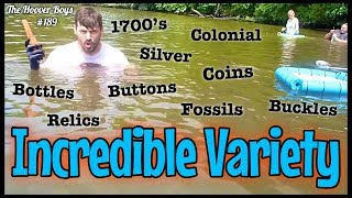 Diving Underwater & Metal Detecting Discovers an Incredible Variety of Coins & Relics!