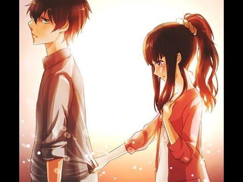 Anime boy protecting girl