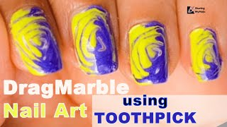No Tool Electric Nail Art | Easy Nail Design for Beginners | DIY Nail art using Toothpick