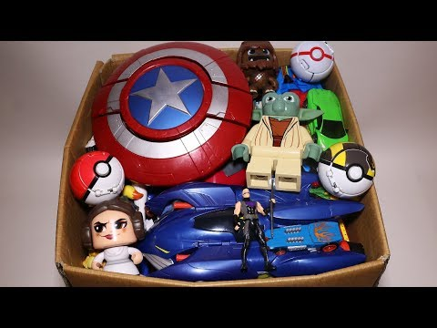 Box of Toys: Action Figures, Cars, Pokemon, Star Wars and More