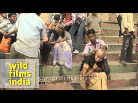 Women Getting Their Heads Shaved At The Ghat Of Varanasi video