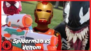 Spiderman vs Venom NERF WAR w iron man in real life comics! SuperHero Kids