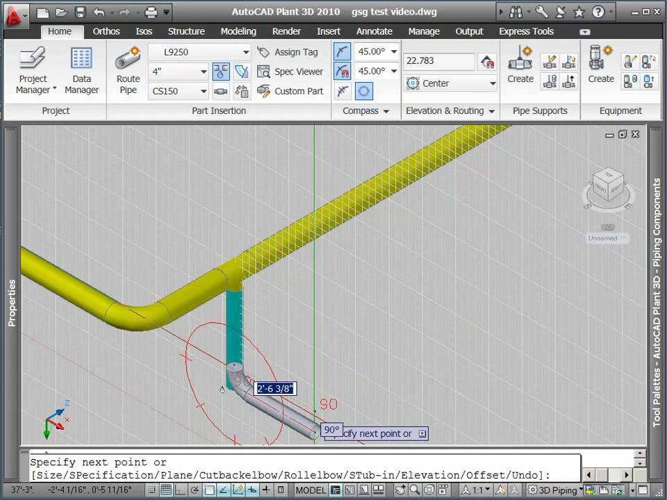 Routing pipe with autocad plant 3d part 2 youtube for Plante 3d dwg