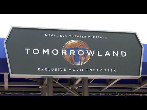 TOMORROWLAND Movie Displays and Narration Before Sneak Peek at Epcot Magic Eye Theater