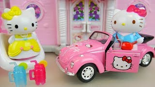 Hello kitty house and car toys with baby doll play