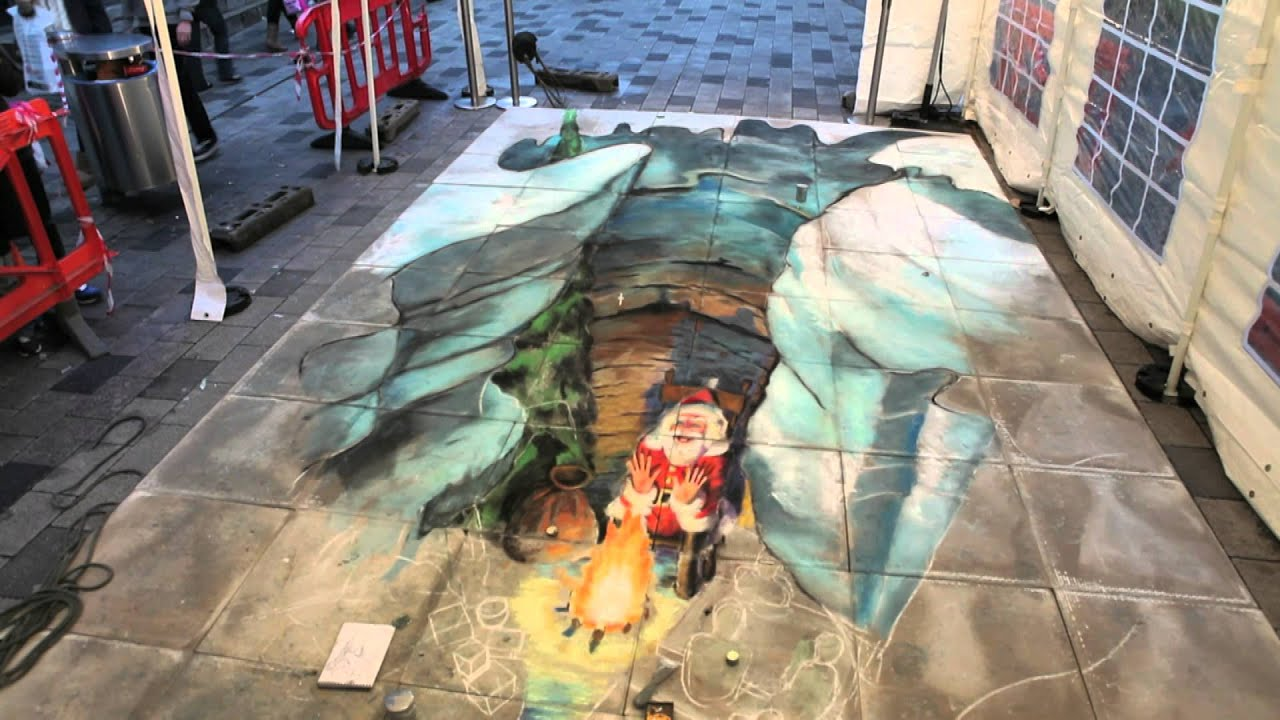 3d christmas pavement art by julian beever at the atrium