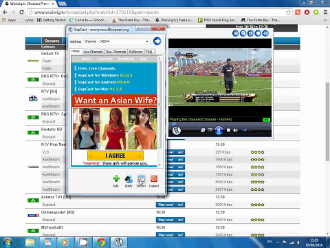 How to watch (Stream) any football match in the world with Sopcast (Wiziwig) in HD