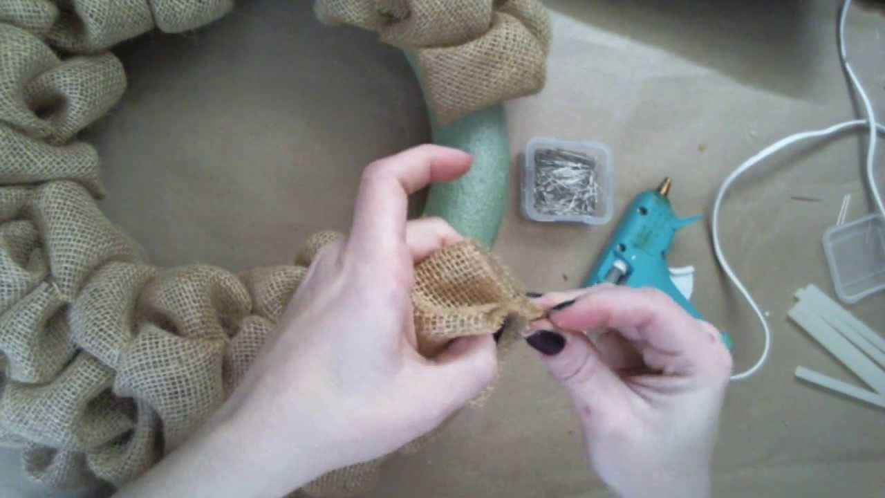 How to create the burlap bubbles for a wreath youtube for What to make with burlap