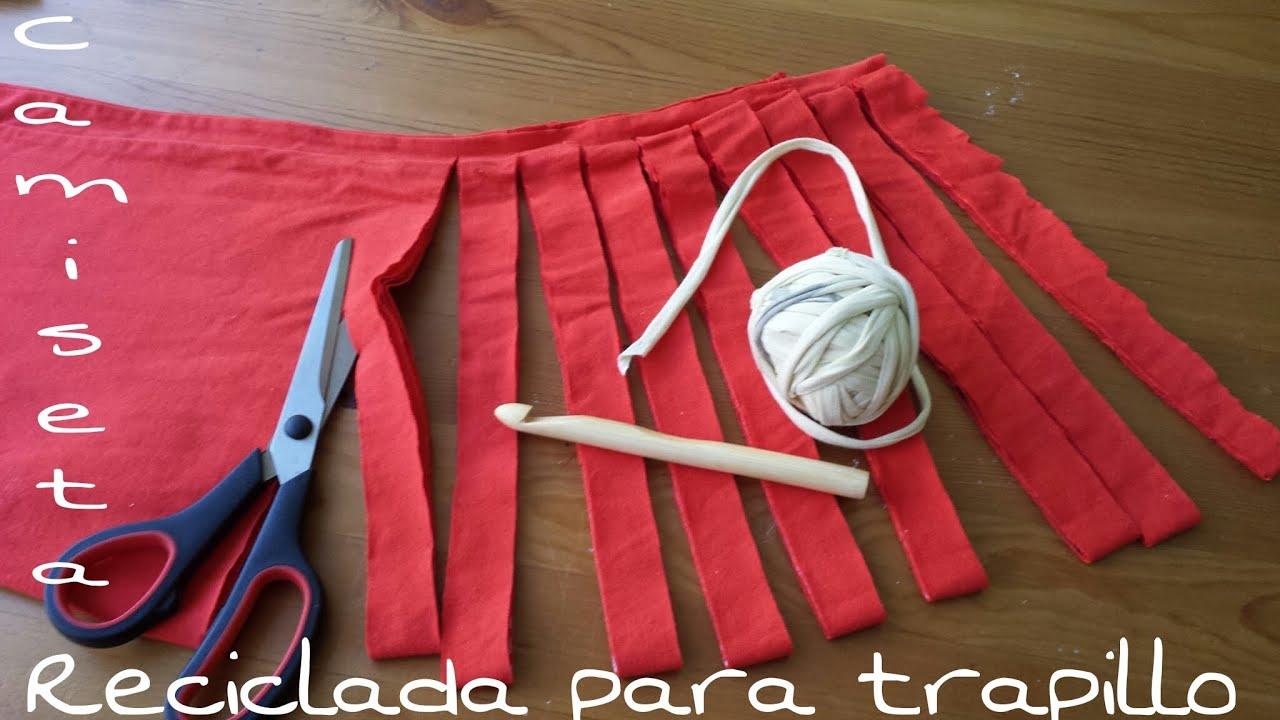 Camiseta reciclada para hacer trapillo youtube - Como hacer alfombras con trapillo ...