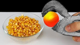 EXPERIMENT: Glowing 1000 Degree METAL BALL VS Popcorn