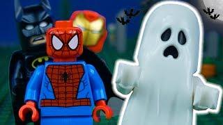 LEGO Batman STOP MOTION Halloween W/ Spider-Man, Batman, Iron Man & Ghost | By Lego Worlds