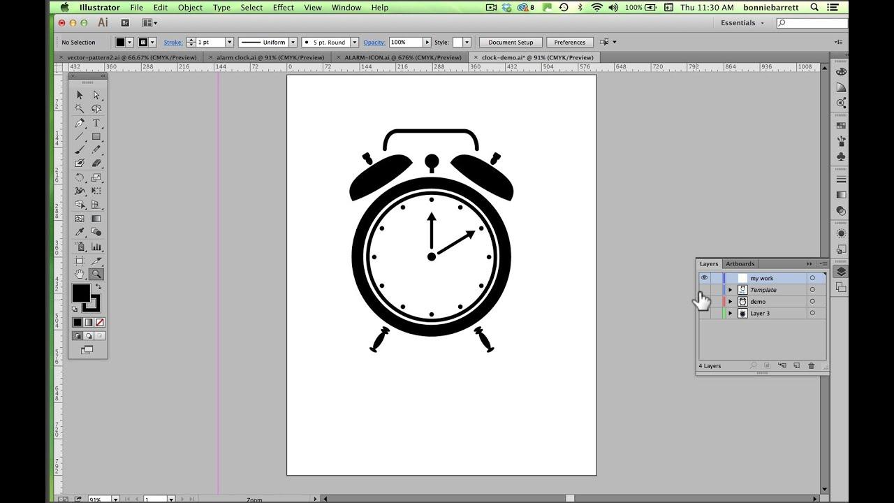 Clock Watch Drawing Draw an Alarm Clock in Adobe